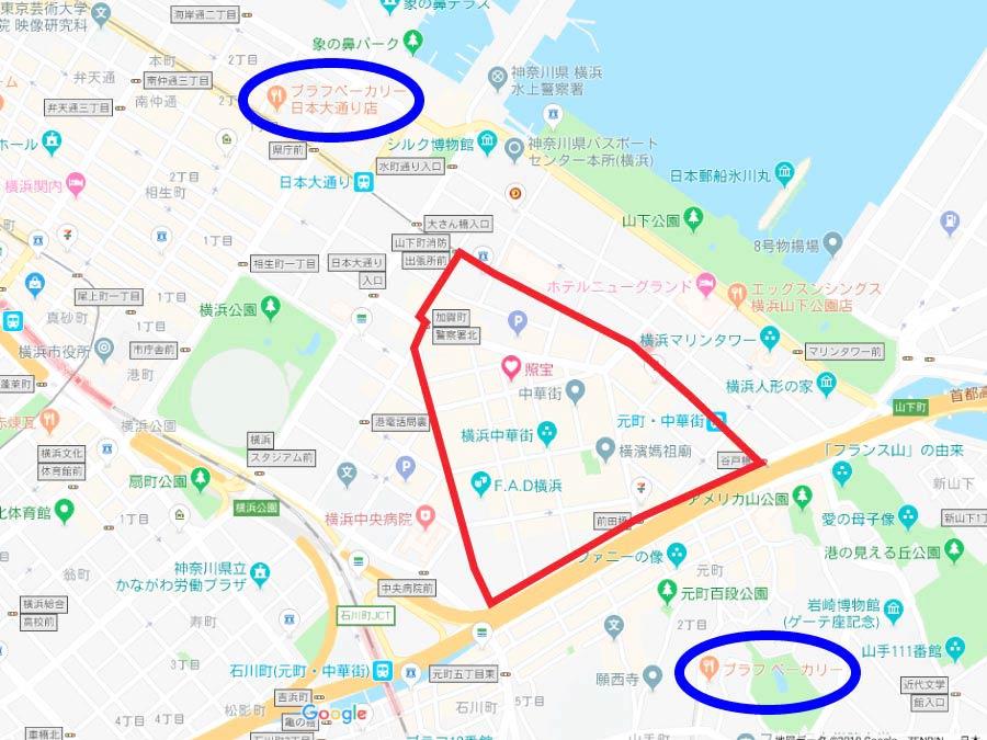 ブラフベーカリー日本大通り店地図